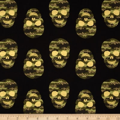 Timeless Treasures Camo Skulls Metallic Black
