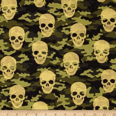 Timeless Treasures Camo Skulls Metallic Camo