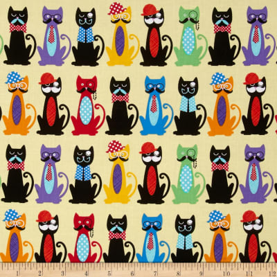 Timeless Treasures Back Fur & Flutter Cats w/ Moustaches Yellow