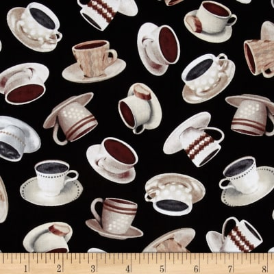 Timeless Treasures Coffee House Tossed Coffee Cups Black