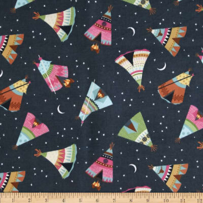 Timeless Treasures Under The Stars Flannel Teepee Toss Charcoal
