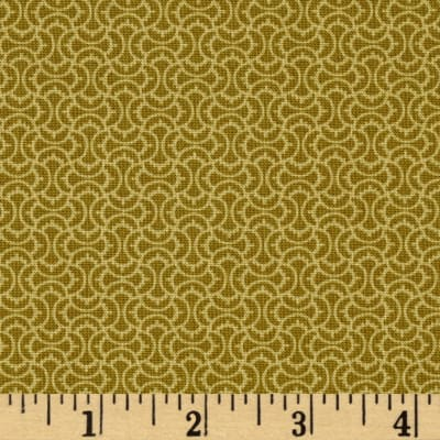 Timeless Treasures Marigold Squiggle Tile Green