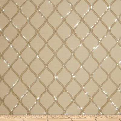 Fabricut Sequinned Embroidered Cubillas Shimme Silver Sand