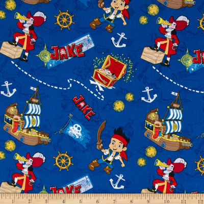 Disney Jake in Neverland Treasure Map Allover Blue