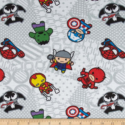 Marvel Kawaii Flannel Superhero Toss White