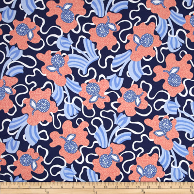 Zandra Rhodes Flower Garden Voile Flowers and Clouds Denim