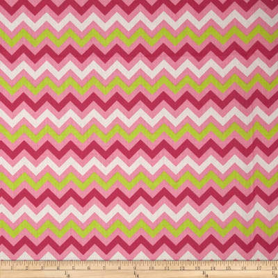 Chevron Cotton Poly Broadcloth Azalea