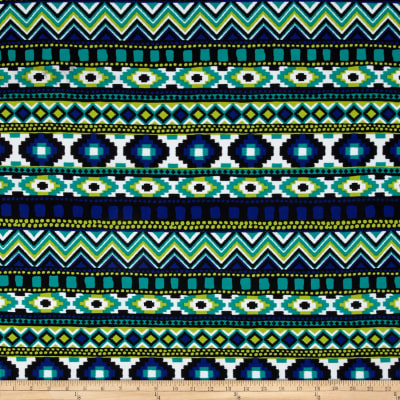 California Designer Stretch ITY Abstract Green/Blue/Black