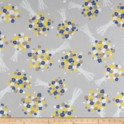 Isso Ecco & Heart Cotton Lawn Modern Floral Grey