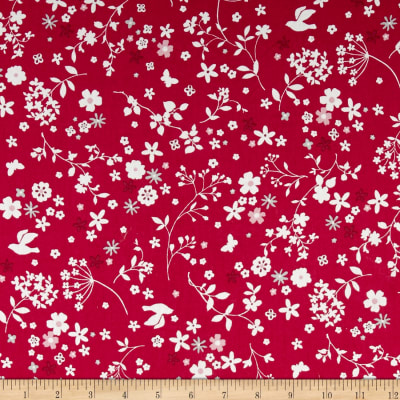 Memore a Paris Cotton Lawn Spring Flowers Packed Red
