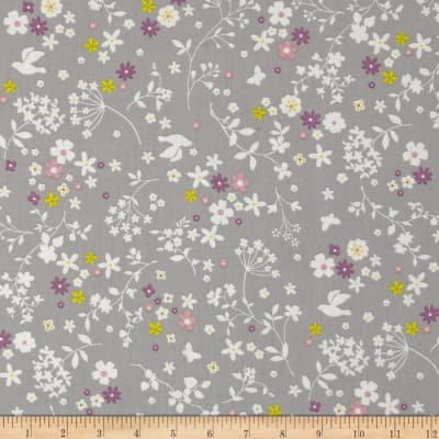 Memore a Paris Cotton Lawn Spring Flowers Packed Grey