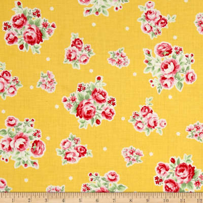 Lecien Flower Sugar Medium Floral Toss w/ White Tiny Flowers Yellow