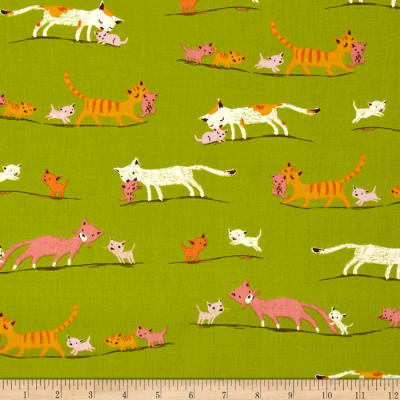 Heather Ross Tiger Lily Marching Cats Green