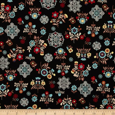 Cotton Shirting Folklore Flowers Black Multi