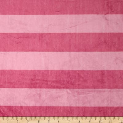 Shannon Minky Wide Stripe Cuddle Begonia/Pink Lady
