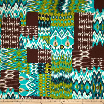 Stretch ITY Jersey Knit Ecuador Tan/Turquoise/Olive