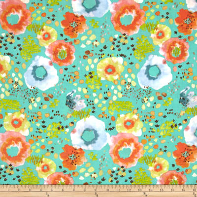 Flora by Kelly Ventura Wildflower Lawn Teal