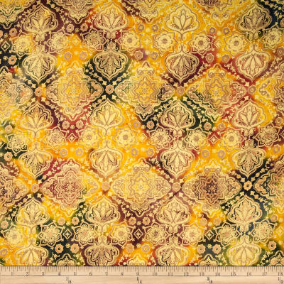 Indian Batik Tribal Small Medallion Metallic Green/Yellow