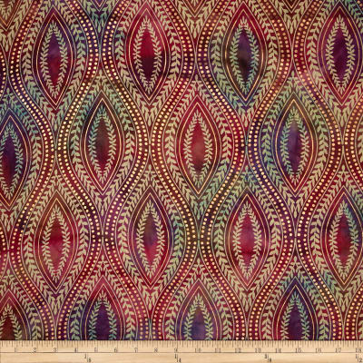Indian Batik Tribal Medallion Metallic Pink/Purple