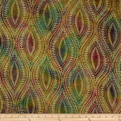 Indian Batik Tribal Medallion Metallic Rose/Green