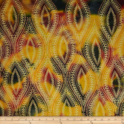 Indian Batik Tribal Medallion Metallic Green/Yellow