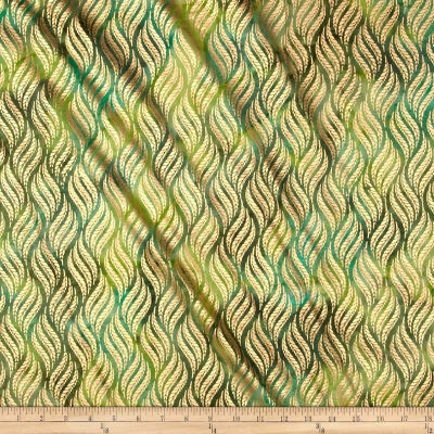 Indian Batik Montego Bay Leaf Metallic Green