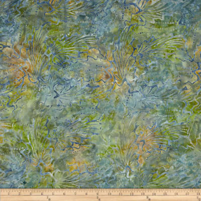 Indonesian Batik Abstract Floral Blue/Green
