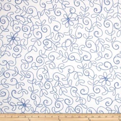White Sands Floral Embroidered Blue