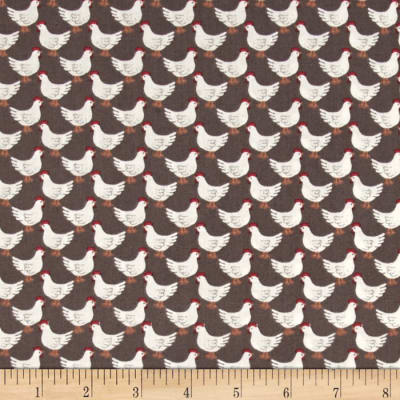Lewis & Irene Country Life Little Hens Earth Brown