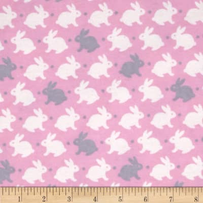 Flannelland Bedtime Bunny Pink/Grey