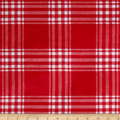 Minky Treas Plaid Red