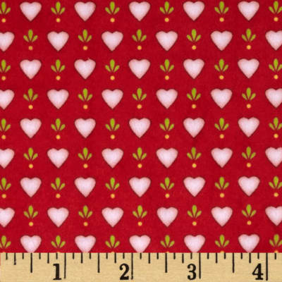 Minky Hearts Red