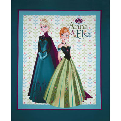 "Disney Frozen Anna & Elsa Panel-36"" Green"