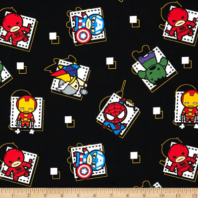 Marvel Kawaii Superhero Badge Black