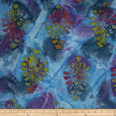Indian Batik Tribal Large Medallion Blue/Purple