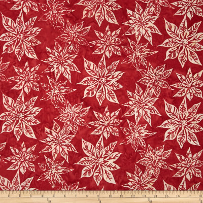 Bali Batiks Handpaints Poinsettias Burgundy