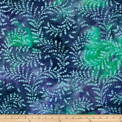 Indian Batik Gypsy Vine Blue Metallic