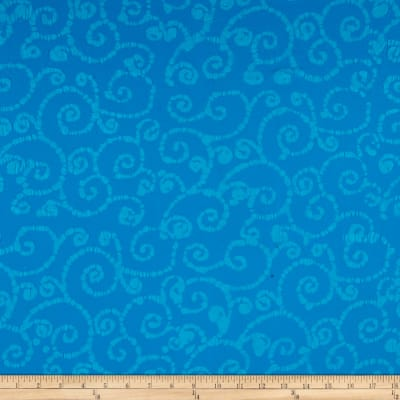 Indian Batik East Side Scroll Aqua