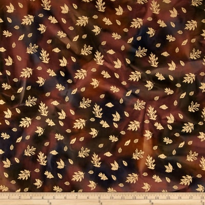Indian Batik Harvest Small Leaf Metallic Brown
