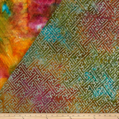 Indian Batik Double Face Quilted Abstract Green