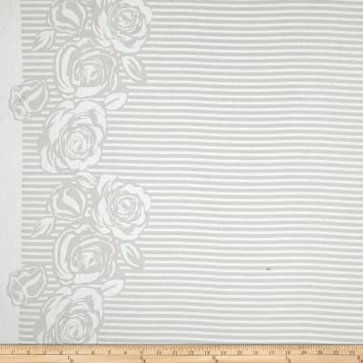Cotton Voile Burn-Out Double Border Stripes/Roses White