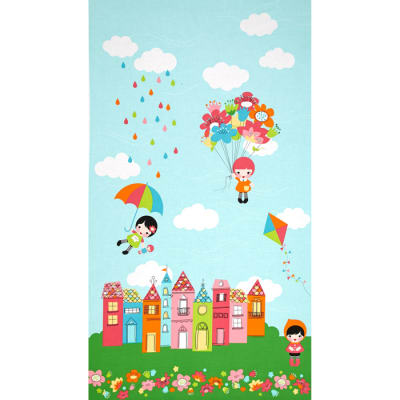 "Kaufman Whatever The Weather Border 24"" Panel Rainbow"