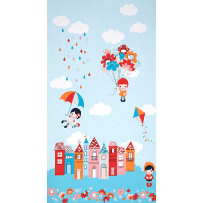 "Kaufman Whatever The Weather Border 24"" Panel Cloud"