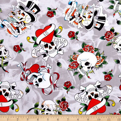 QT Fabrics Ed Hardy Love Is True Tossed Skulls Grey