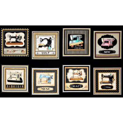 Thimble Pleasures Sewing Machine Patches 24 In. Panel Black