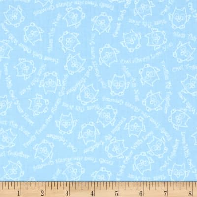 QT Fabrics Owl In The Family Owl Sketch & Words Blue