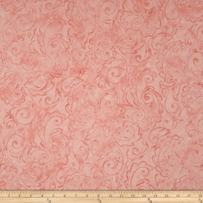 Timeless Treasures Tonga Batik Bouquet Feather Scroll Salmon