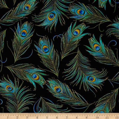 Timeless Treasures Enchanted Plume Metallic Peacock Feathers Black