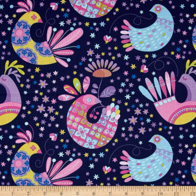 Michael Miller Birds & The Bees's Feathered Flock Navy