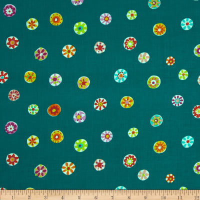 Michael Miller Melodies Folk Floral Dot Teal